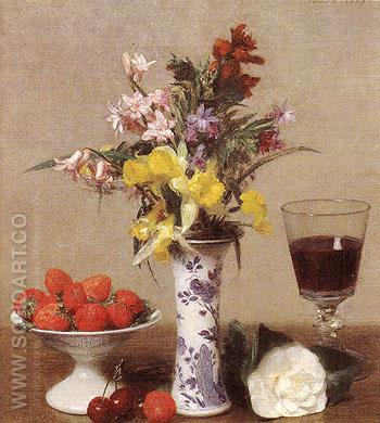 Strawberries and Wine Glass 1869 - I Fantin-latour reproduction oil painting