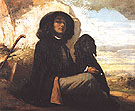 Gustave Courbet Self Portrait with Black Dog c1842