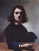 Gustave Courbet Self Portrait Courbet with Black Dog 1842