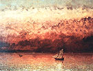 Sunset on Lake Geneva c1876 - Gustave Courbet