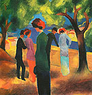 Lady in a Green Jacket 1913 - August Macke reproduction oil painting