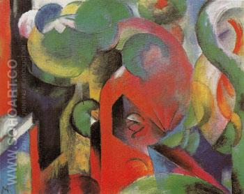 Small Composition III c1913 - Franz Marc reproduction oil painting