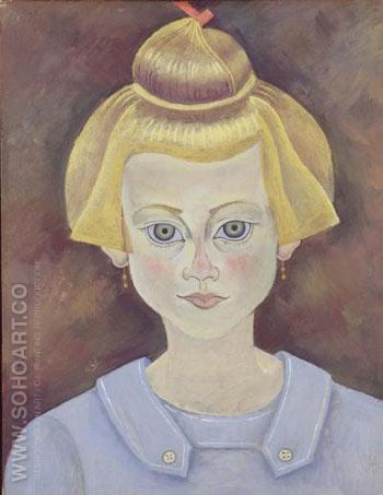 Portrait of a Young girl c 1915 - Joan Miro reproduction oil painting