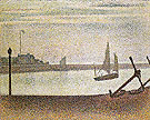 The Channel at Gravelines Evening 1890 - Georges Seurat reproduction oil painting
