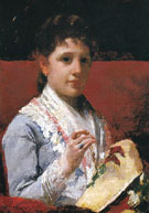 Mary Ellison Embroidering 1877 - Mary Cassatt