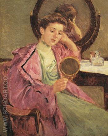 Woman at Her Toilette 1909 - Mary Cassatt reproduction oil painting