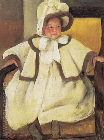 Ellen Mary in a White Coat c1896 - Mary Cassatt reproduction oil painting