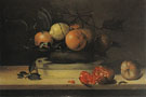 Bowl of Lemons and Oranges on a Box of Wood Shavings and Pomegranates - Louise Moillon