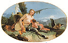 Female Satyr with Tambourine Child and a Putto - Giovanni Barrista Tiepolo