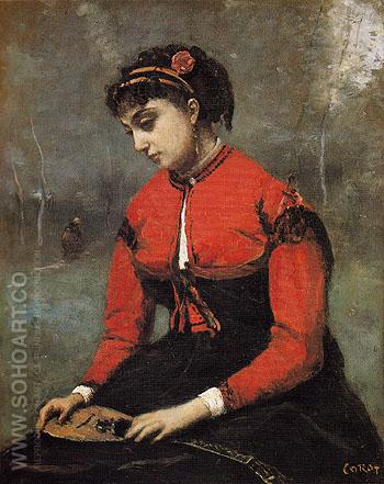 Young Woman in a Red Bodice Holding a Mandolin c1868 - Jean-baptiste Corot reproduction oil painting