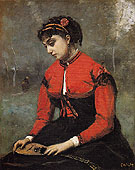 Jean-baptiste Corot Young Woman in a Red Bodice Holding a Mandolin c1868
