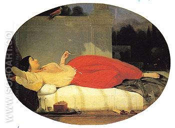 Odalisque 1831 - Achille Deveria reproduction oil painting