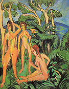 Bathers Beneath Trees Fehmarn - Ernst Kirchner