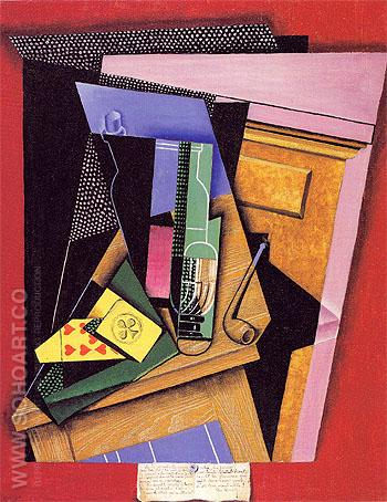 Still Life with a Poem 1915 - Juan Gris reproduction oil painting