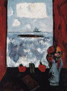 Summer Sea Window Red Curtain 1942 - Marsden Hartley