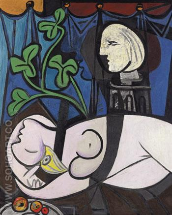 Bust with Green Leaves 1932 - Pablo Picasso reproduction oil painting