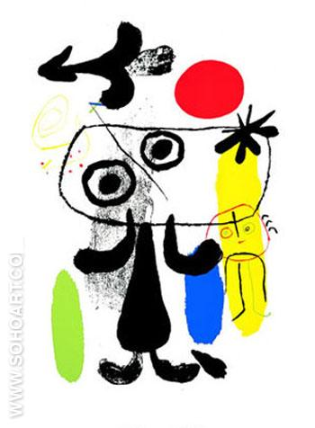 Figure Dans le Soleil Rouge II c1950 - Joan Miro reproduction oil painting