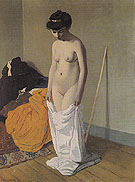 Felix Vallotton Naked Woman Holding Her Shirt with Both Hands 1904