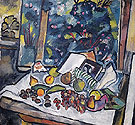 Still Life with Fruits Open Book and a Pot of Flowers c1908 - Natalia Gontcharova