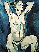Natalia Gontcharova Artists Model on the Blue Background c1909