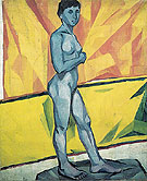 Natalia Gontcharova Artists Model on the Yellow Background c1909