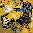 Natalia Gontcharova Cat Rayonist Perception in Pink Black and Yellow 1913