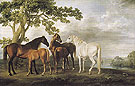 George Stubbs Mares and Foals in a River Landscape c1763