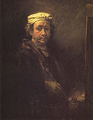Portrait of the Artist at his Easel 1660 - Rembrandt reproduction oil painting