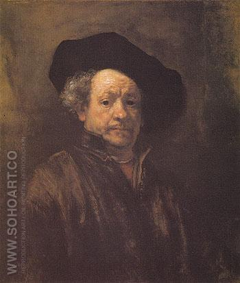 Self Portrait 1660 - Rembrandt reproduction oil painting