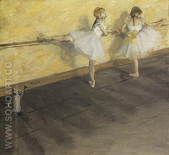 Dancers Practicing at the Bar c1876 - Edgar Degas reproduction oil painting