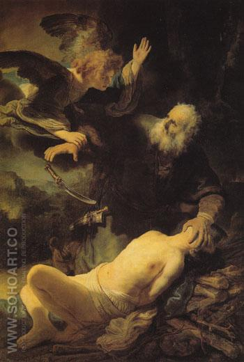 Abraham and Isaac 1634 - Rembrandt reproduction oil painting
