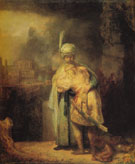 David and Jonathan 1642 - Rembrandt reproduction oil painting