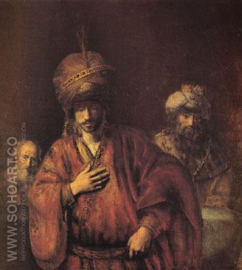 The Condemnation of Haman c1665 - Rembrandt Van Rijn reproduction oil painting