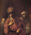 The Condemnation of Haman c1665 - Rembrandt reproduction oil painting