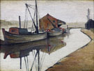 Barges on Manchester Canal  1946 - L-S-Lowry