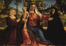 Madonna and Child with Painting Commissioners - Palma Vecchio