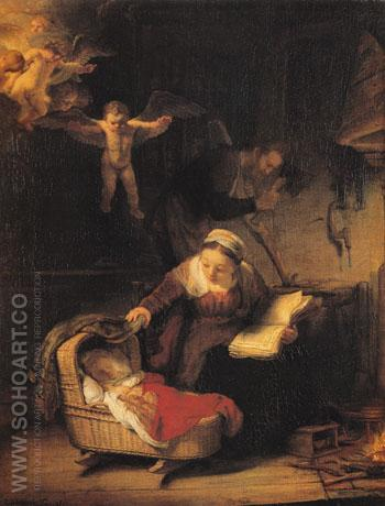 Holy Family 1645 - Rembrandt reproduction oil painting