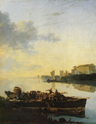 Barge on a River at Sunset - Adam Pynacker