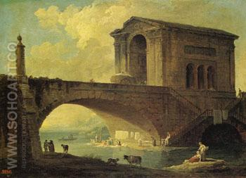 Landscape with Stone Bridge 1766 - Hubert Robert reproduction oil painting