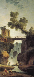 Landscape with Waterfall - Hubert Robert