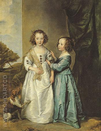 Philadelphia and Elizabeth Wharton 1630 - Van Dyck reproduction oil painting