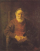 An Old Man in Red c 1652 - Rembrandt reproduction oil painting