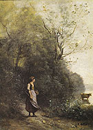 A Peasant Woman Grazing a Cow at the Edge of a Forest 1865 - Jean-baptiste Corot