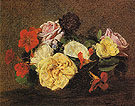 Bouquet of Roses and Nasturtiums in a Vase 1883 - I Fantin-latour