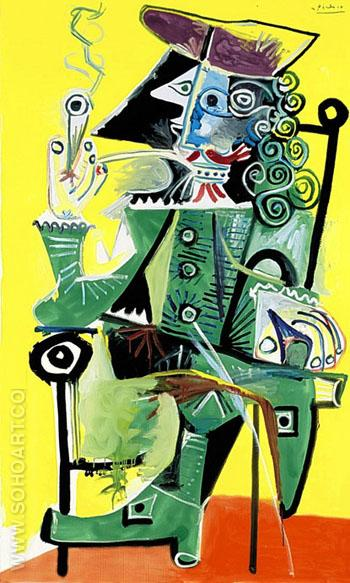 Musketeer with Pipe 1968 2 - Pablo Picasso reproduction oil painting