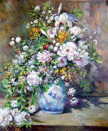 Grand Vaso de Fiori, spring Bouquet - Pierre Auguste Renoir reproduction oil painting