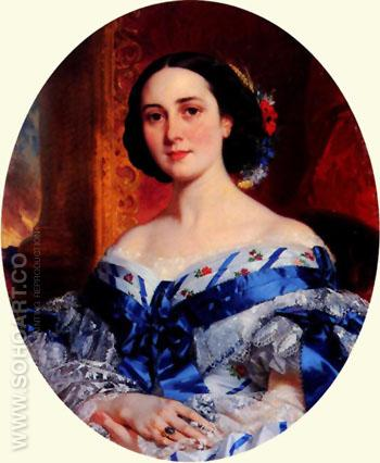 Portrait of Marie Luche de Selle Beauchamp - Achille Deveria reproduction oil painting