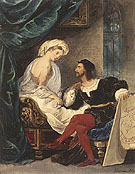 Lovers in 16th Century Costume c1800 - Achille Deveria reproduction oil painting