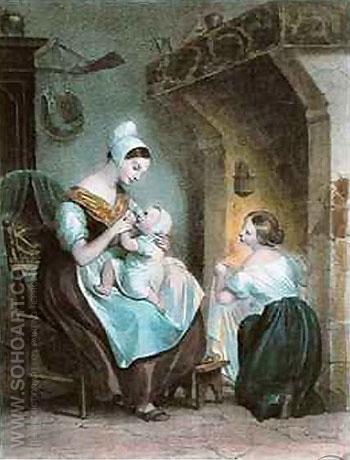 The Wetnurse - Achille Deveria reproduction oil painting