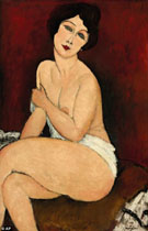 Seated Nude on Divan 1917 - Amedeo Modigliani reproduction oil painting